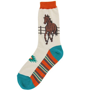 Tan, orange, and blue socks with a design of a galloping horse on the ankle.