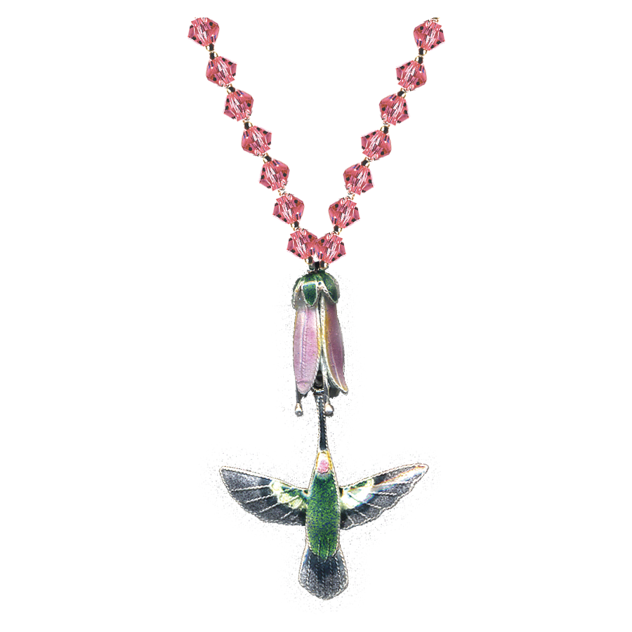 A green hummingbird pendent with its beak  attached to a small flower bud. The chain is decorated with pink crystals.