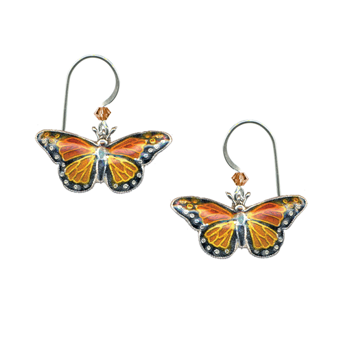 Silver cloisonne monarch butterfly earrings with silver earring wire and an orange crystal.
