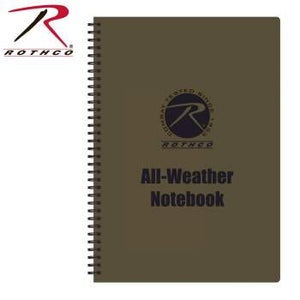 "A brown spiral notebook with text proclaiming it ""All-Weather""."