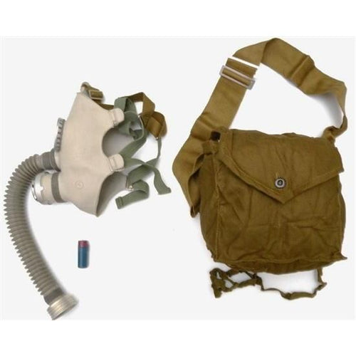 A gray gas mask. To its right is a brown bag.