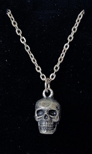 Silver skull pendent on a silver chain.