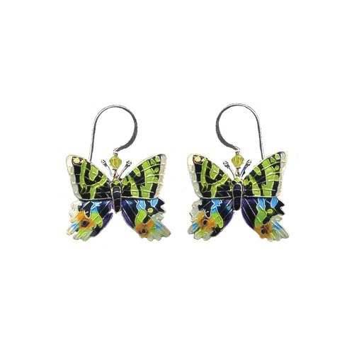 Silver and cloisonne hanging sunset moth earrings with silver wires and a green crystal.