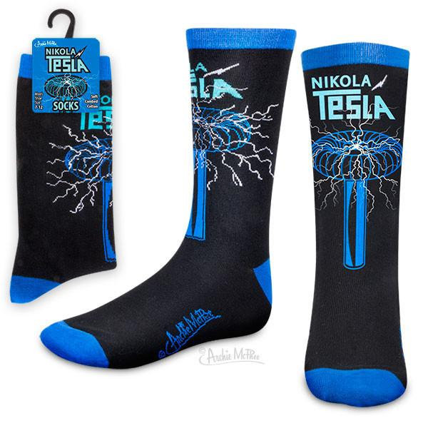 Blue and black socks with a tesla coil and the words