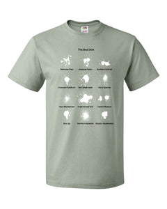 "A gray/green t shirt with text ""The BIrd Shirt"" and diagrams of various kinds of bird feces."
