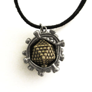 Silver and bronze virus pendant on a black cord.