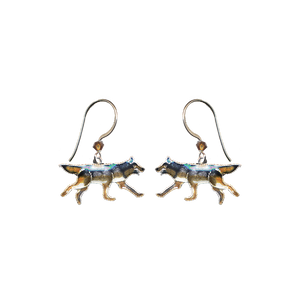 Silver cloisonne wolf earrings with silver earring wires and brown crystals.