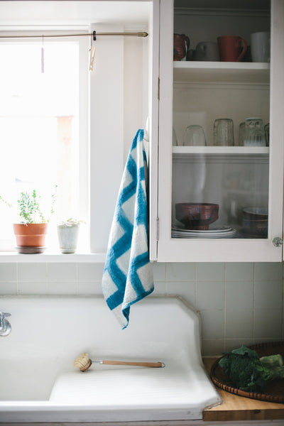 SHIBORI GEOMETRIC SHAPES TEA TOWEL
