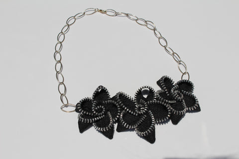 Zipper Flower Necklace