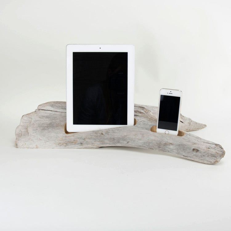 Docking Station, driftwood, combination IPAD and IPHONE