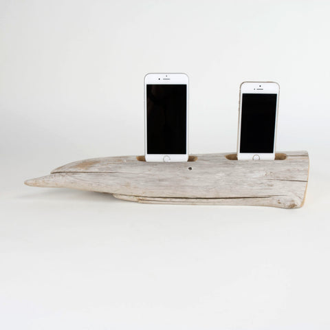 Docking Station, driftwood, DOUBLE Iphone charging station.