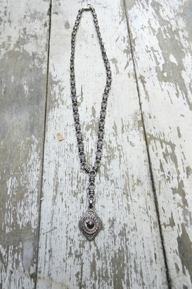 Heirloom BUTTON Necklace, silver and antique gold