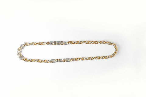 Recycled pull tab CHUNKY NECKLACE WITH GOLD & SILVER LINKS