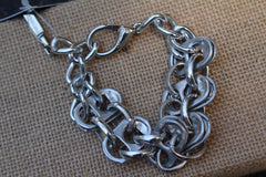 Recycled pull tab CHUNKY SILVER LINK BRACELET