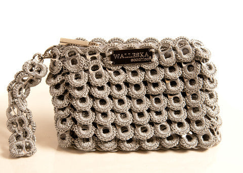 Recycled pull tab PETAL OPERA CLUTCH