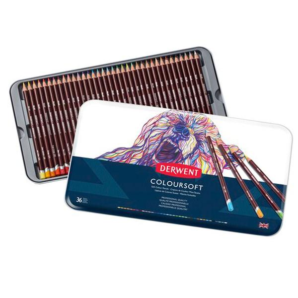 Caja metalica c/36 lapices coloursoft derwent