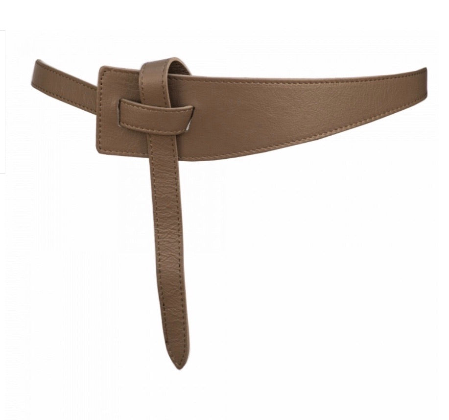 Leather Belt/ Taupe