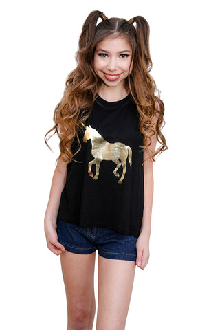 Gold Unicorn Muscle T-Shirt