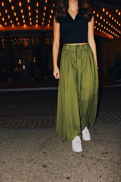 Green Belted Wide Leg Pant