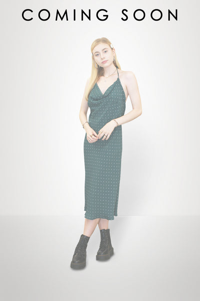 Green Backless Slip Dress