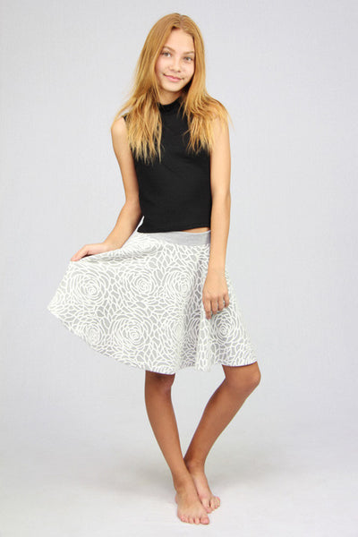Grey & White Rose Skirt