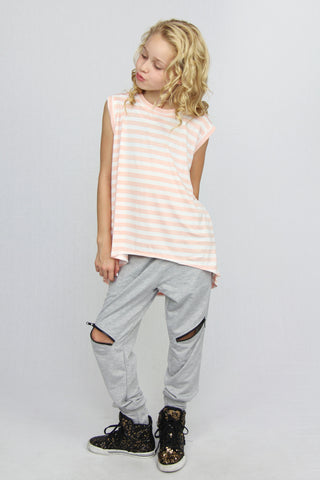Striped Hi/Lo Tank - Peach & White