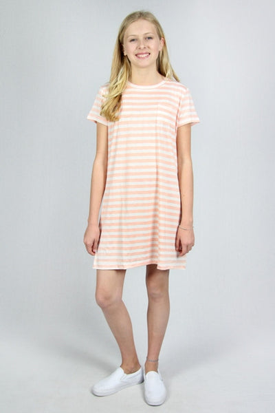 Peach Striped T-shirt Dress with Pocket