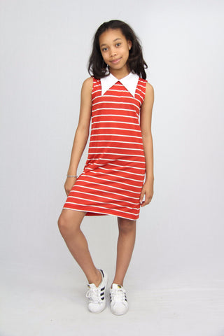 Point-Collar Striped Dress