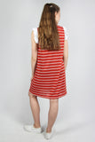 Red Ruffle-Sleeve Striped T-shirt Dress