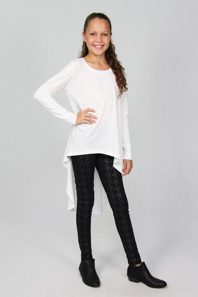 White High Low Top - Cuffed Long Sleeve