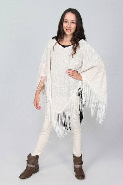 Pearl Poncho with Fringe