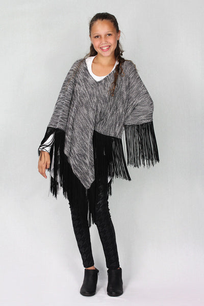 Black Poncho with Fringe
