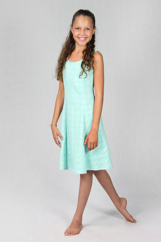 Mint Faux Leather Houndstooth Dress