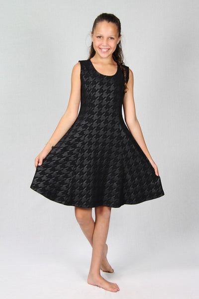 Black Faux Leather Houndstooth Dress