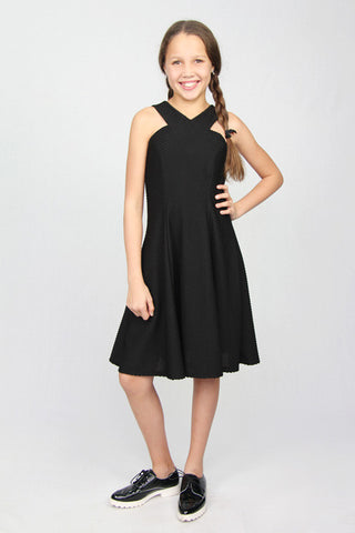 Waffle Knit Cutout Neck Dress