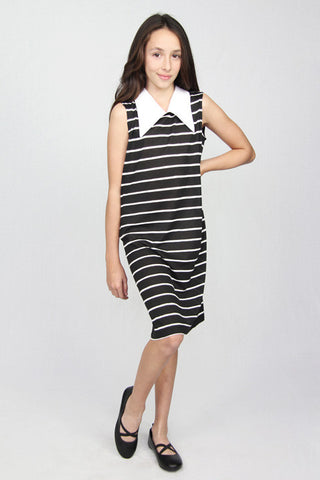 Stripes Point Collar Dress