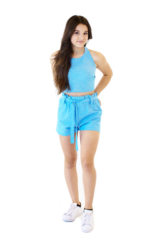 Stripe Belted High-Waist Shorts