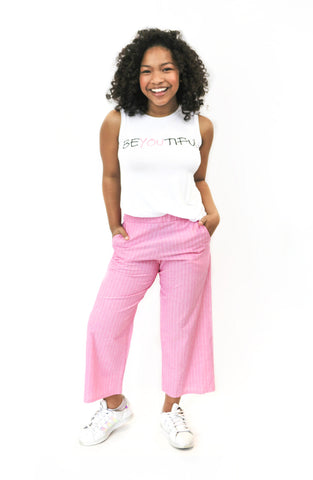 Stripe Capri Pants w/ Pockets