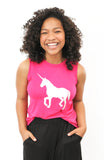 Silver iridescent unicorn on a comfy pink fuchsia muscle tee.