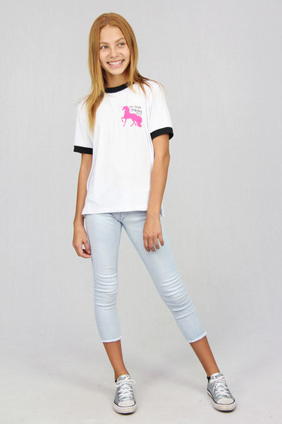 My Best Friend Is A Unicorn Ringer Tee
