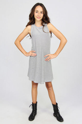 Racer Tank Dress - Black/White
