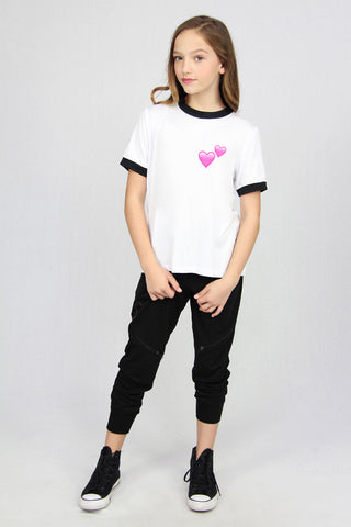 Pink Hearts Ringer Tee