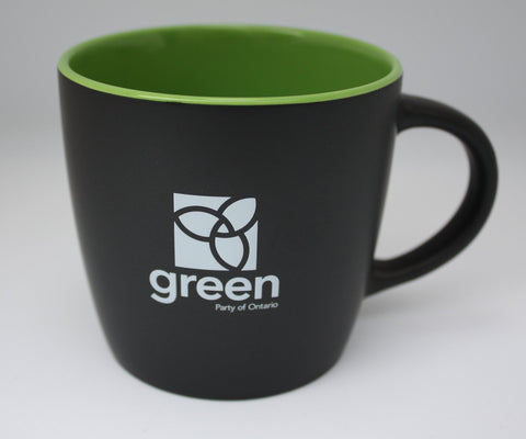 12 oz. matte black exterior coffee mug - Black-Lime Green
