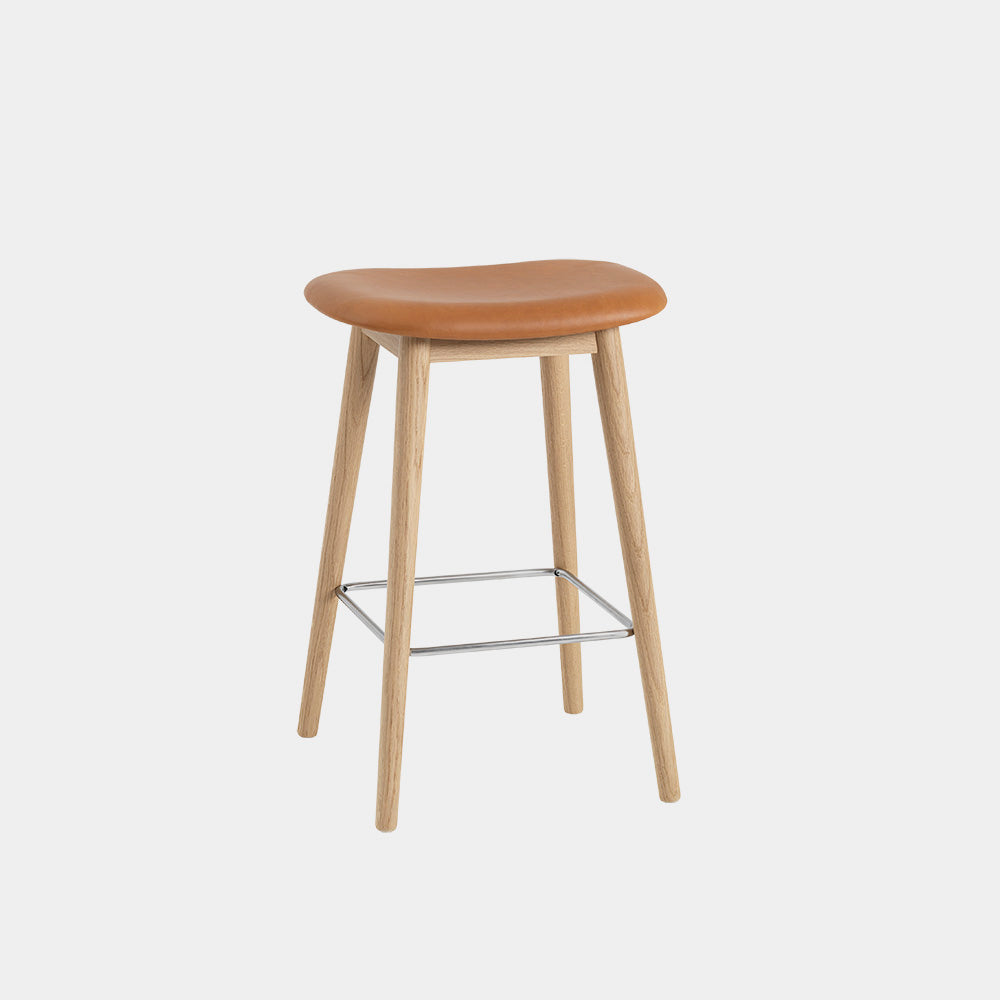 Fiber Bar Stool with Wood Base, backless
