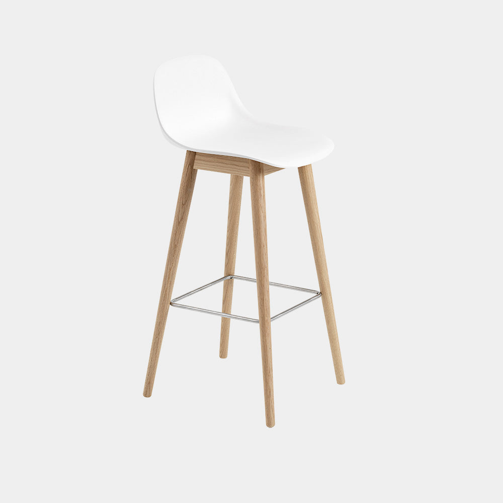 Fiber Bar Stool with Wood Base