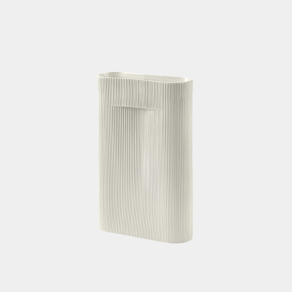 Ridge Vase, off-white