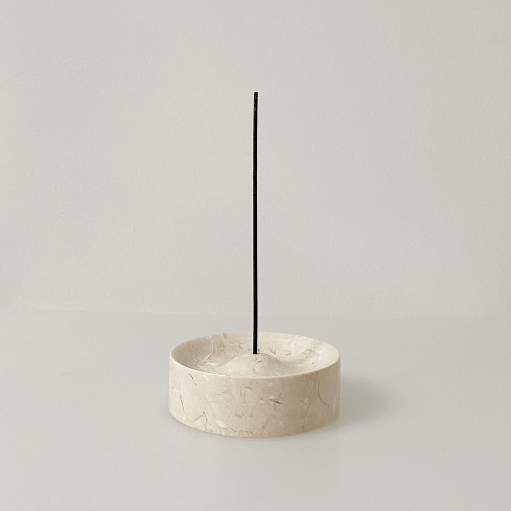 Cream Marble Incense Holder
