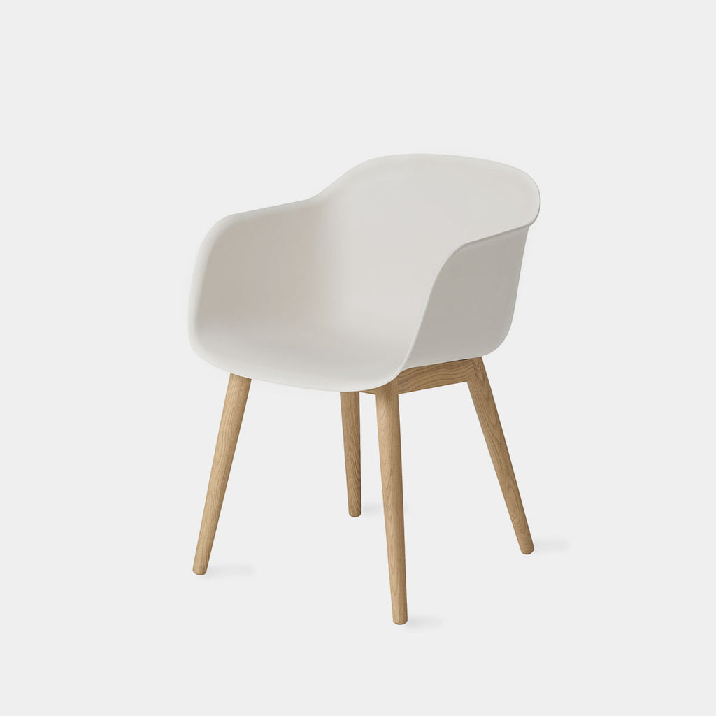 Fiber Armchair with Wood Base