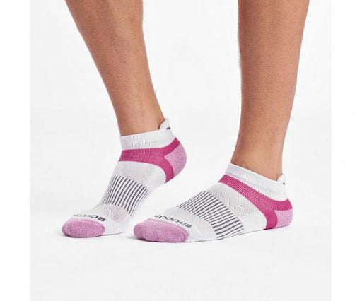 Saucony Inferno No Show Tab Socks Pink/White Assorted