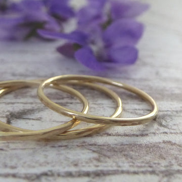 Skinny Band Rings - 9ct Gold - Set of 3